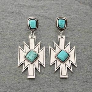 Aztec Natural Stone Post Earrings. Turquoise.